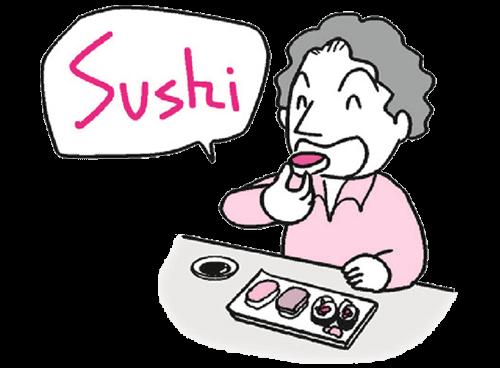 お寿司を食べる外人